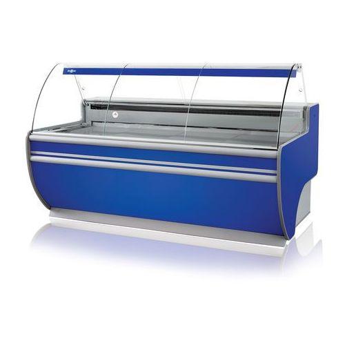 Lada chłodnicza z szybą giętą, blatem ze stali nierdzewnej (szlif), podświetlanym plafonem dolnym, 1370x900x1220 mm | RAPA, L-D 137/90