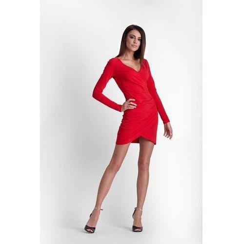 9065435a7a Czerwona Drapowana Ołówkowa Sukienka z K..