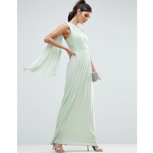 lace insert sash one shoulder maxi dress - green, Asos