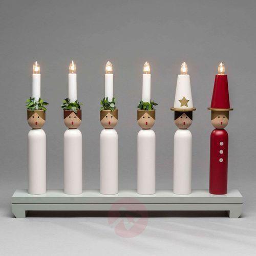 Świecznik lucia z drewna, 6-punktowy marki Konstmide christmas