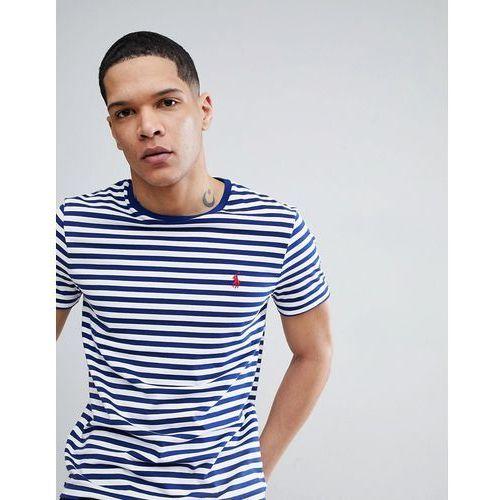 Polo ralph lauren stripe t-shirt polo player in white/blue - white
