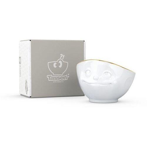 - miseczka - zakochana buźka - biała ze złotym brzegiem - 500 ml marki 58products