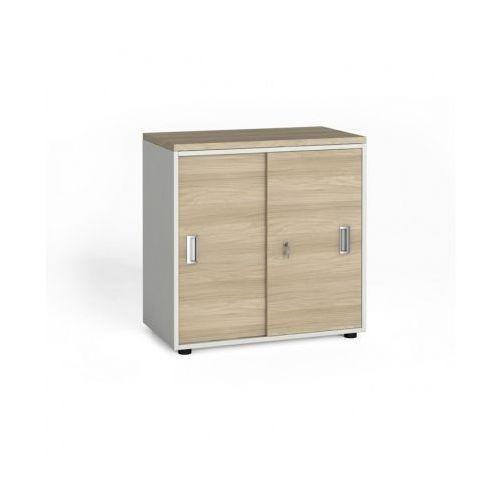 Szafa biurowa z przesuwnymi drzwiami, 740x800x420 mm, biały / dąb naturalny