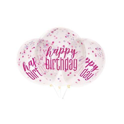 Unique Balony przezroczyste happy birthday z różowym konfetti w środku - 30 cm - 6 szt.