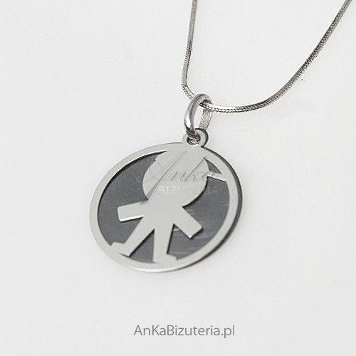 Dzidziuś-chłopczyk - srebrny oksydowany wisiorek dla Kobiet, Dziewczyn, dla Mamy, kolor szary