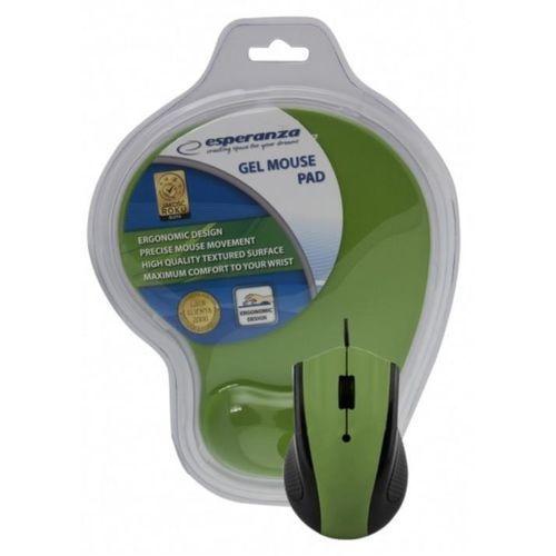 Mysz przewodowa Esperanza EM125G optyczna zielona z podkładką żelową (5901299909164)