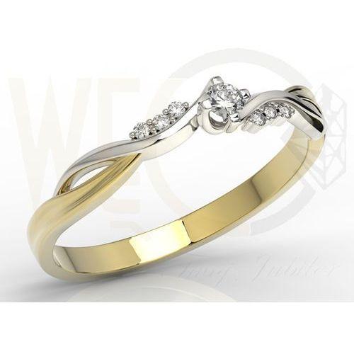 Pierścionek zaręczynowy z żółtego i białego złota z diamentami 0,11 ct wzór ap-7011zb marki Węc - twój jubiler