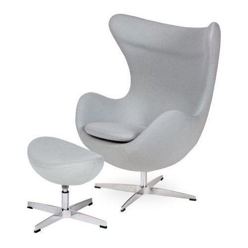 Fotel EGG CLASSIC z podnóżkiem szary popielaty.18 - wełna, podstawa chromowana (5900168802247)