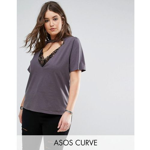 t-shirt with high neck ravage plunge with lace insert in wash - grey marki Asos curve