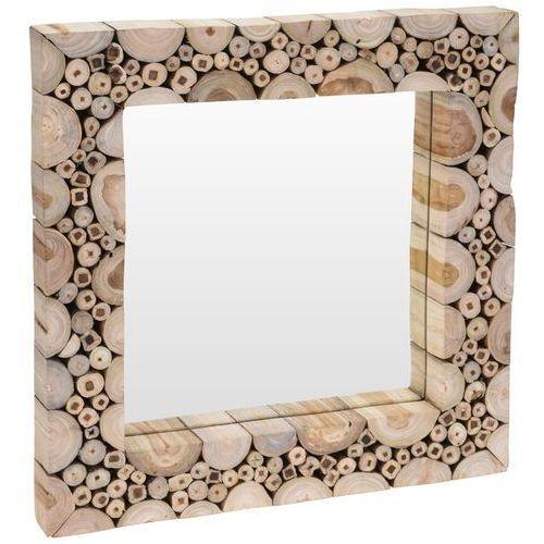 Home styling collection Lustro ścienne w drewnianej oprawie, kwadratowe lustro ścienne - drewno tekowe, 50 x 50 cm