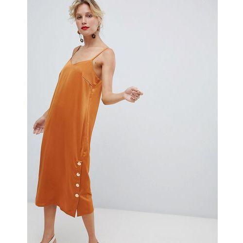 Y.A.S side split copper button detail cami mini dress in orange - Orange, w 4 rozmiarach