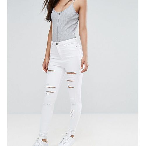 ASOS TALL RIDLEY High Waist Skinny Jeans in Optic White with Shredded Rips - White, kolor biały