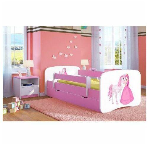 Łóżko dla dziewczynki z szufladą Happy 2X mix 70x140 - różowe, Kocot-łóżko-babydreams-różowe-księżniczka-z-konikiem