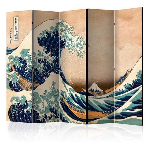 Parawan 5-częściowy - hokusai: wielka fala w kanagawie (reprodukcja) ii [room dividers] marki Artgeist