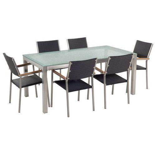 zestaw ogrodowy szklany blat 180 cm 6 osobowy rattanowe krzesła gross marki Beliani