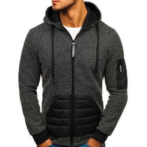 Bluza męska z kapturem rozpinana czarna Denley HY301, kolor czarny