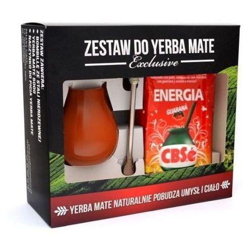 Zestaw yerba mate EXCLUSIVE Bombilla Inox Mini Brąz CBSe Energia i guarana 500g
