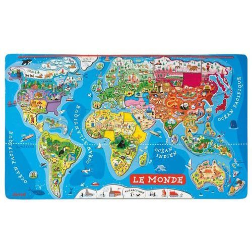 JANOD Puzzle magnetyczne - Mapa Świata - francuska wersja językowa