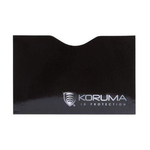 Ekranowane etui chroniące przed nieautoryzowanym odczytem kart zbliżeniowych - poziome etui antykradzieżowe na karty zbliżeniowe (czarne, srebrne logo) marki Koruma®