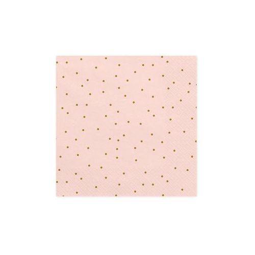 Serwetki urodzinowe jasnoróżowe w złote małe kropki - 33 cm - 20 szt., SPAP/0760-9
