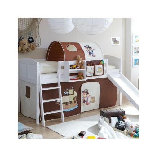 TICAA Łóżko ze zjeżdżalnią EKKI sosna white Country Pirat kolor brązowy/beżowy