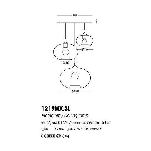 Cangini&tucci Cangini & tucci plafon parigi cipolla (szkło gładkie) - 1219mx.3l