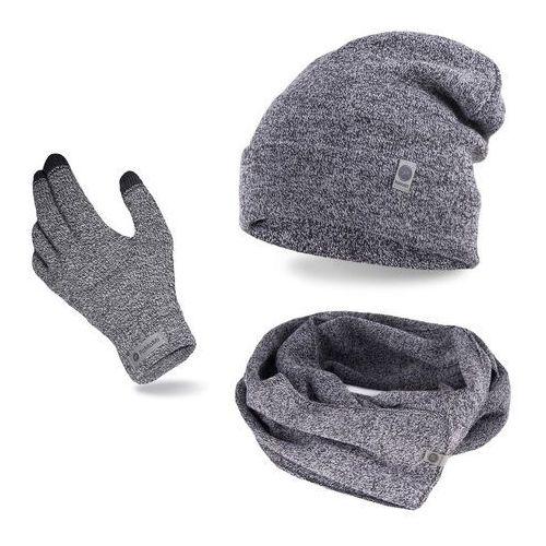 Pamami Komplet męski - czapka, szalik, rękawiczki - jasnoszara mulina (5902934068635)