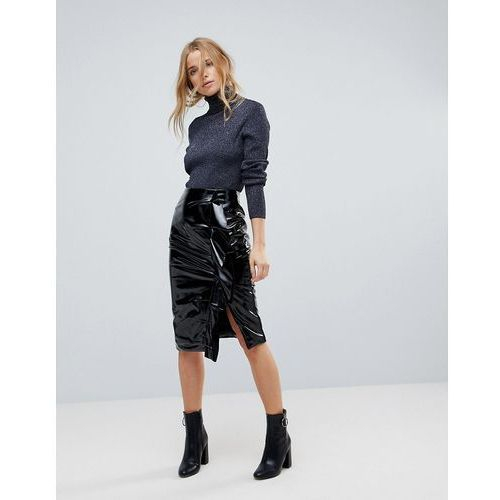 Miss Selfridge Gathered Vinyl Midi Skirt - Black, kolor czarny