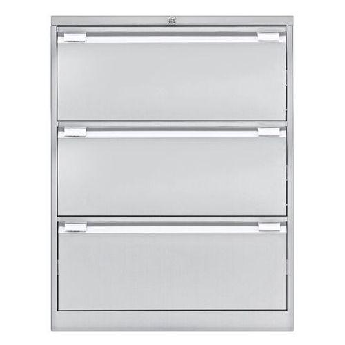 Szafka na kartotekę wiszącą, 2-torowa, 3 szuflady, DIN A4, jasnoszary. Na teczki