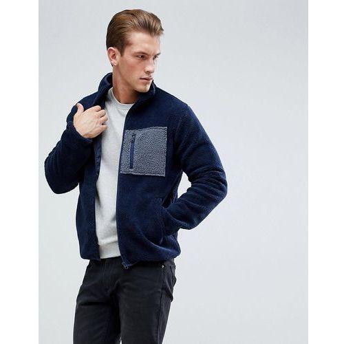 borg pocket zip through jacket - navy, D-struct