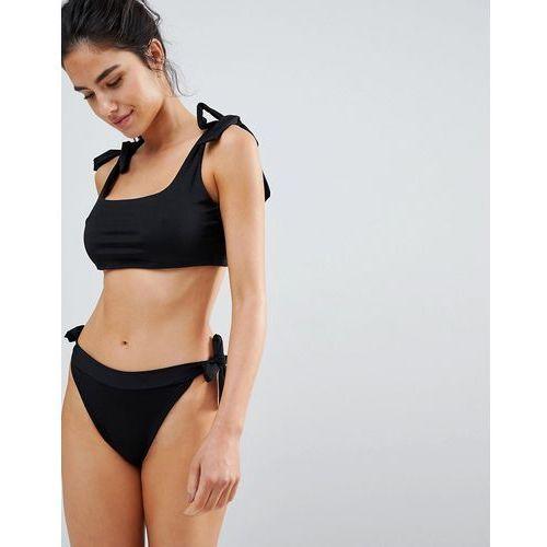 PrettyLittleThing High Leg Tie Side bikini Bottom - Black