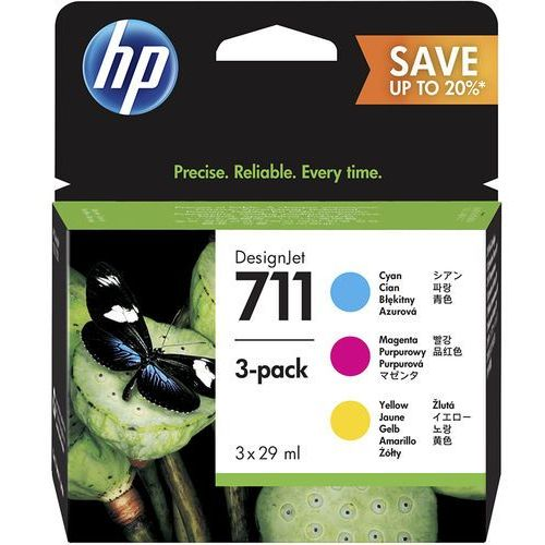 Zestaw tuszy HP 711 / P2V32A CMY do drukarek (Oryginalny) [3x29ml]