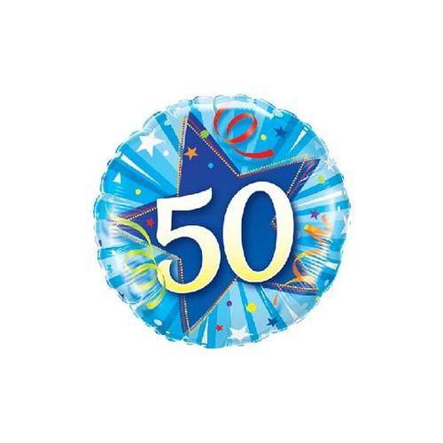Balon foliowy na 50 urodziny niebieski - 46 cm