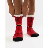 ASOS DESIGN Christmas slipper socks in santa design with fluffy lining - Red