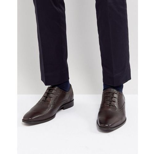 saffiano brogue shoes in brown leather - brown, Dune