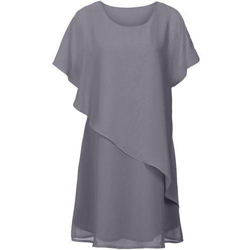 Sukienka z tkaniny bonprix szary