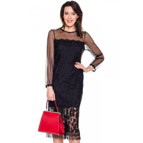 Elegnacka, koronkowa sukienka - GaPa Fashion, kolor czarny