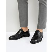 Selected homme leather derby shoes in black - black