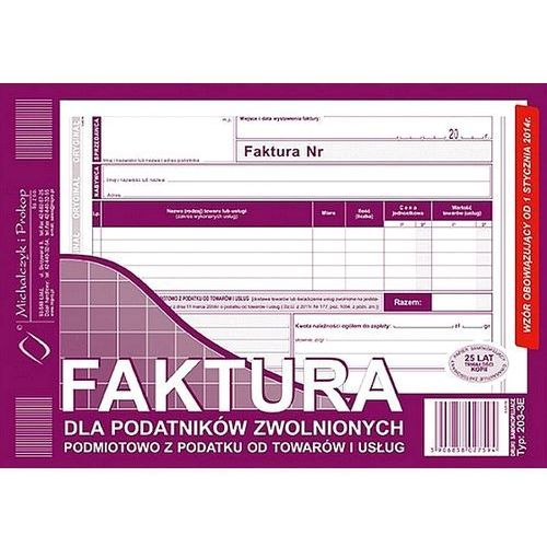 Faktura dla podatników zwolnionych z vat a5 typ 203-3 marki Michalczyk i prokop