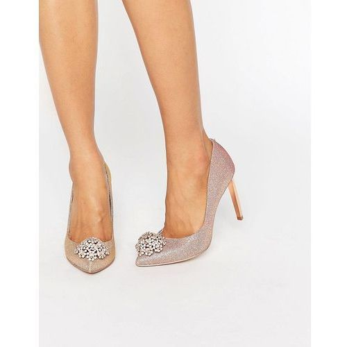Ted Baker Peetch Tie The Knot Rose Gold Embellished Court Shoes - Gold