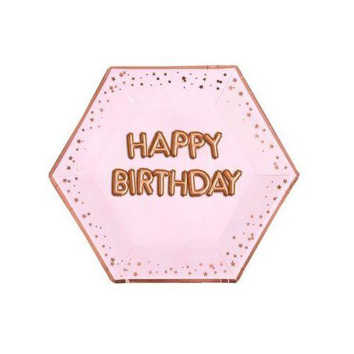 Talerzyki urodzinowe różowe Happy Birthday - cm - szt. (5060495974380)