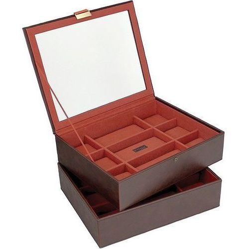 Pudełko na zegarki podwójne 18 komorowe brązowo-pomarańczowe marki Stackers