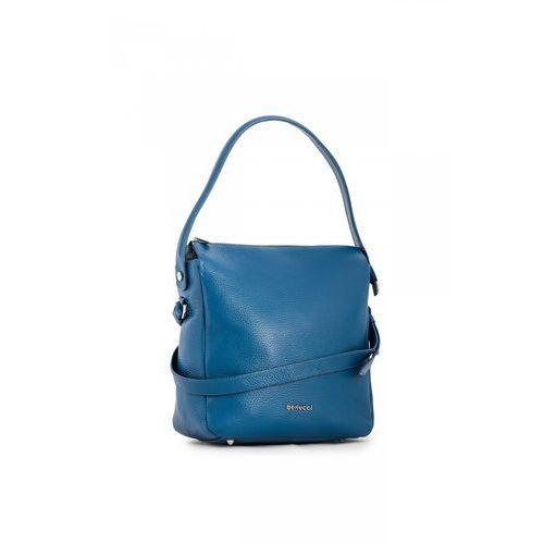 Kobaltowa torebka ze skóry naturalnej - marki Franco bellucci
