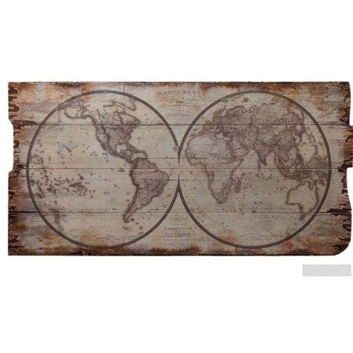 Obraz Mapa Świata retro na drewnianej desce decoupage