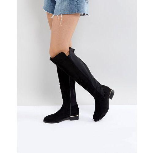Park lane elastic back flat over knee boot - black
