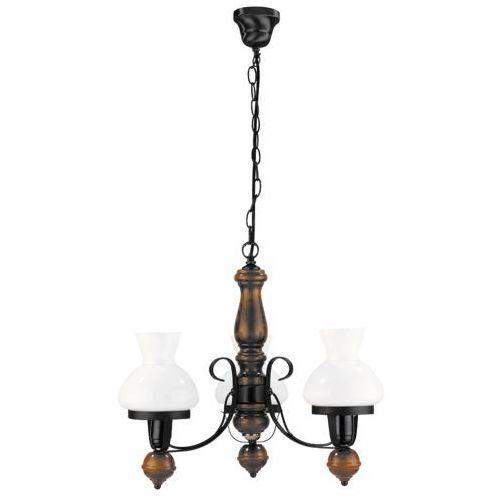 Rabalux Lampa wisząca petronel 3x60w e27 czarny mat/orzech 7078