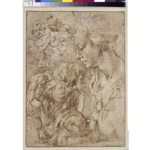 Reprodukcja Studien zu einer Heiligen Familie mit dem Johannesknaben Michelangelo