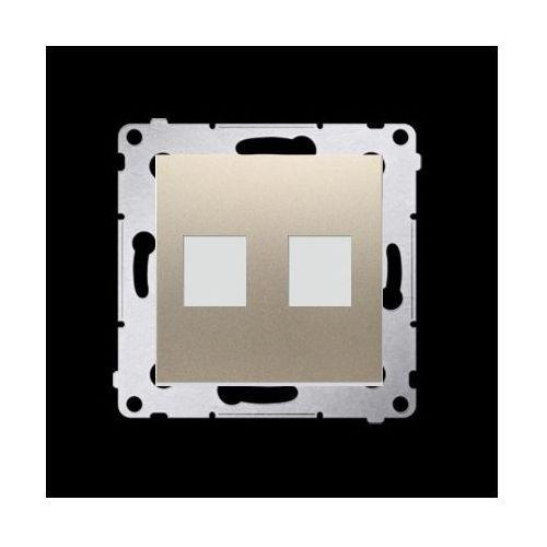 Pokrywa gniazd teleinformatycznych na Keystone płaska podwójna (moduł); złoty mat