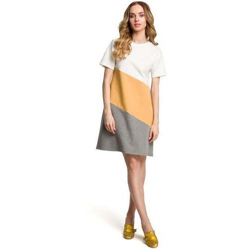 a4191be642 Moe Biało żółto szara dziewczęca trapezowa sukienka z przodem w pasy
