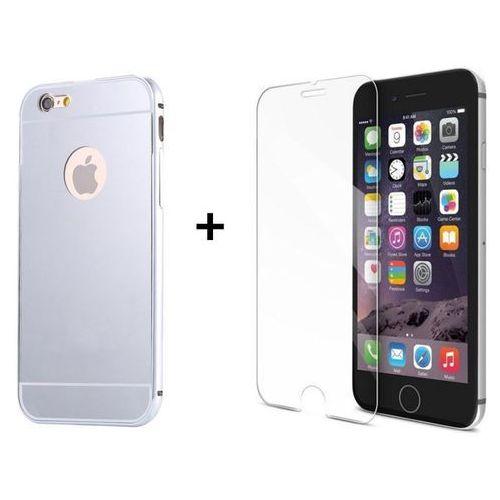 Zestaw   Mirror Bumper Metal Case Srebrny + Szkło ochronne Perfect Glass   Etui dla Apple iPhone 6 / 6S